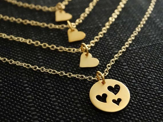 Mother Daughter Necklace Set Mother necklace Mother daughter jewelry mothers day gift from daughter 3 Daughters necklaces Heart necklace