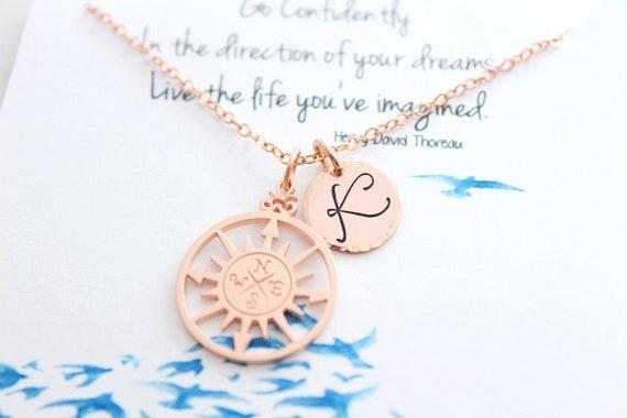 Compass Necklace . Graduation Gift . Inspirational necklace for Graduation. Rose gold necklace