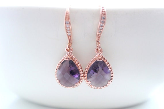 Purple Earrings Rose Gold Earrings and necklace set Bridal Earrings Wedding Earrings Bridesmaid Gift Bride earrings Amethyst earrings