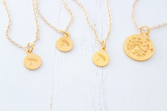 Dandelion necklace Mother Daughter gold • Gift for mom Set of 4 • Mom Gift • Mothers Day Gift  • Christmas gift