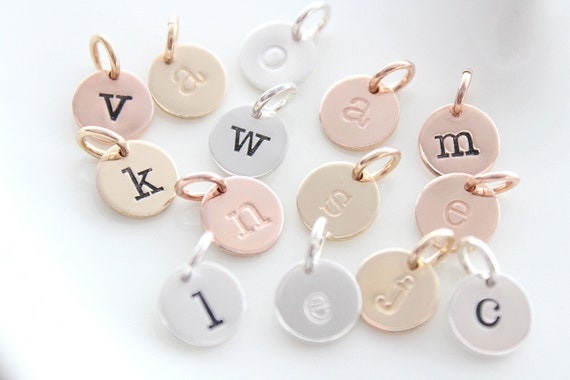 Letter charms for necklaces, Alphabet Charms, sterling silver letter charms, personalized charm, initial letter, Gold Initial discs TW