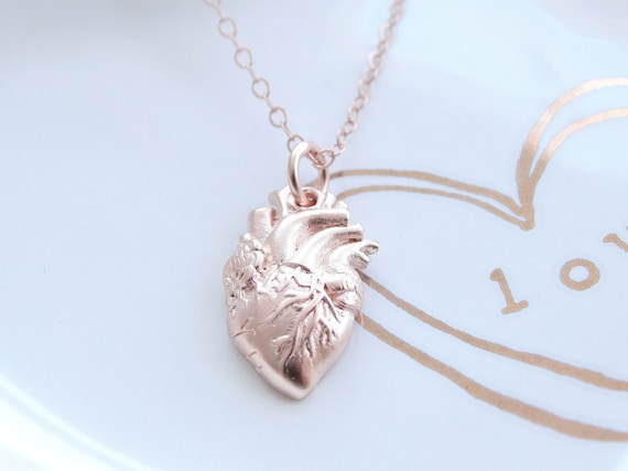 Anatomical heart Necklace Anatomical Heart Charm Heart necklace Anatomical heart charm heart necklace Rose Gold Necklace Rose Gold Heart