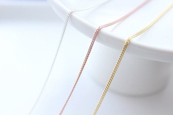 Rose Gold Necklace - Rose Gold Chain - Curb Chain Necklace - Sterling silver Chain Necklace - Gold chain