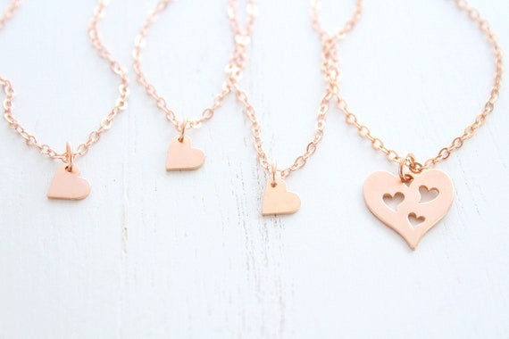Mother daughter necklace 3 generation in rose gold necklace. Mother daughter heart necklace, Mother's day gift