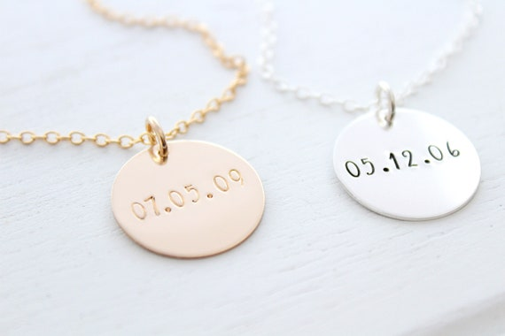 Dainty Custom Date Necklace, Personalized Birthdate Gift, Custom Wedding or Anniversary Date Jewelry, Mother, Silver or Gold Disc Necklace