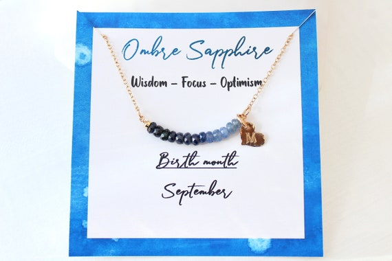 Personalized sapphire necklace, Custom initial necklace gold, September birthstone necklace for women, Sapphire Jewelry