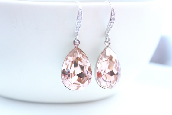 Blush Earrings, Swarovski earrings, Bridesmaid jewelry, Blush Wedding earrings, Crystal earrings, Bridesmaid earrings