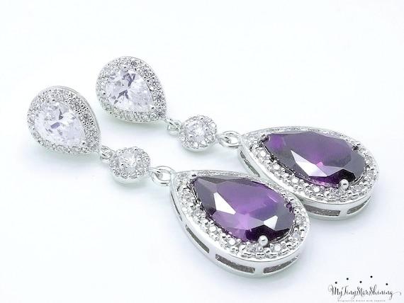 Purple Earrings Amethyst Earrings Bridal Earrings Wedding Earrings Bridal Jewelry Cubic Zirconia Teardrop Wedding Jewelry Bride earrings