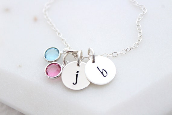 Initial necklace with birthstone silver, Personalized Gift for Her, Christmas Gift