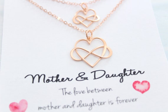 Infinity Necklace Mothers Necklace Set Mother daughter Necklace Jewelry Mother daughter jewelry Infinity heart necklace Set Gift for mom