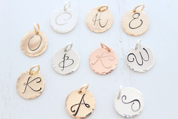 Initial Charm, Initial pendant, Initial letter charm, Personalized letter charm, Sterling Silver initial charm Rose Gold
