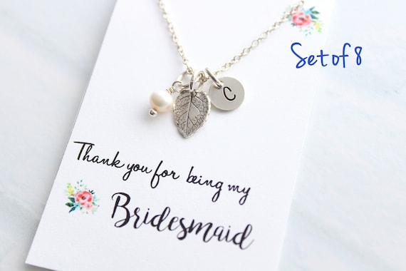 Personalized Jewelry leaf necklace Silver Initial Necklace Fall Wedding Jewelry Bridesmaid Necklace Bridesmaid Gift Rustic wedding Set of 8