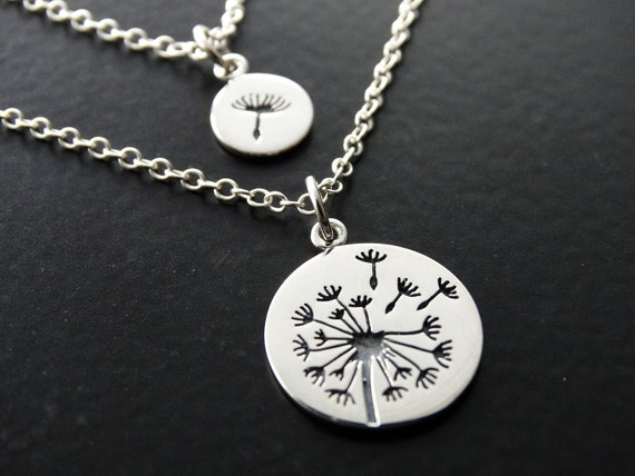 Dandelion Necklace mother daughter necklace Mother of the bride gift Sterling silver charm Mother daughter jewelry sets  gift for mom
