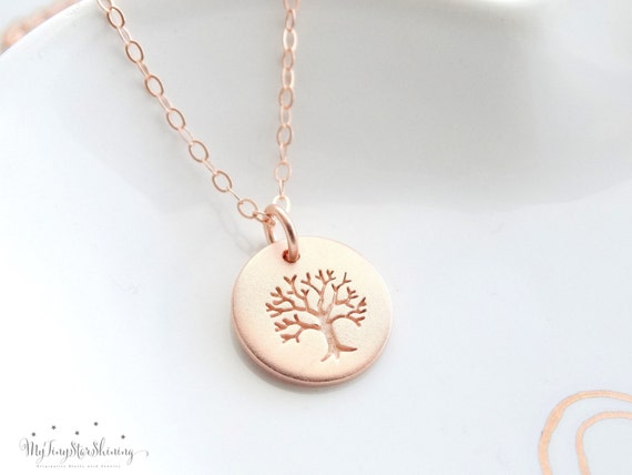 Family Tree Necklace, Personalized Jewelry, Tree of Life Necklace Rose Gold, Mother's day gift, Tree of life jewelry
