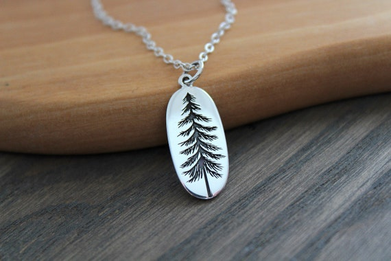 Silver Tree Necklace Pine tree necklace Tree Pendant Sterling Silver Pine Necklace Winter Tree Winter Tree Necklace Evergreen Necklace