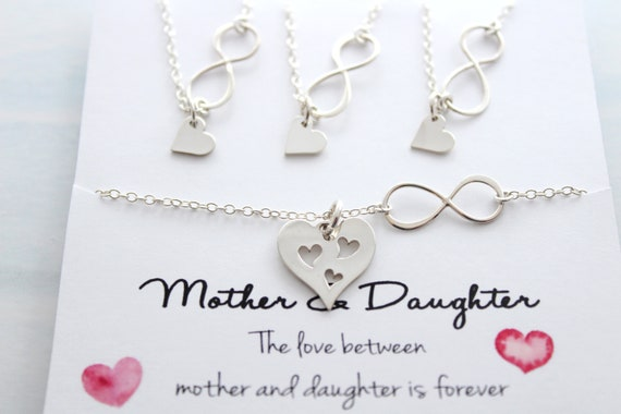 Mother daughter Necklace Set Mother Necklace Mother Daughter Infinity Necklace from Daughter Necklace Mother of the Bride Gift Set of 4