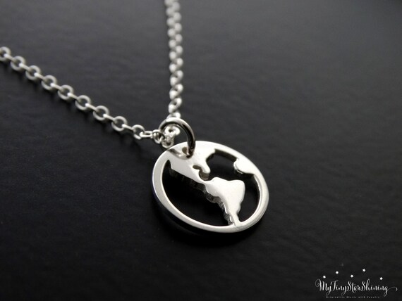 World Map Necklace Sterling silver, Travel Necklace, Globe Pendant, Traveler Jewelry, World Charm, Sterling silver Necklace