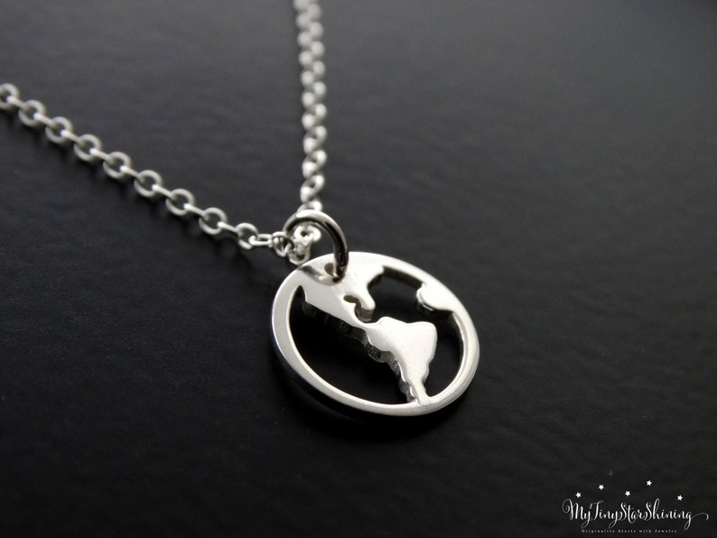 World Map Necklace Sterling silver Travel Necklace Globe image 0