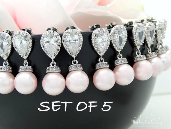Set of 5 Pearl Earrings Bridesmaid Gift  Pearl Bridal Earrings Swarovski Crystal Pearl Earrings Earrings 10% discount Pink Pearl Earrings