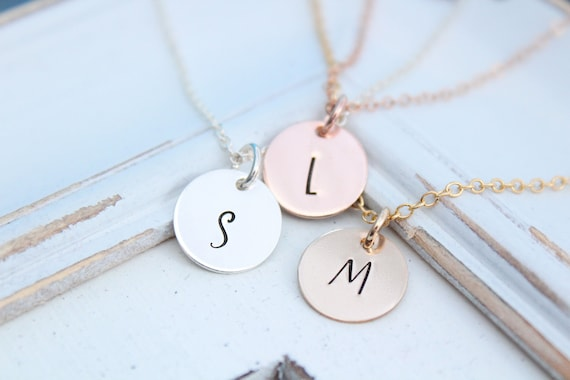 Personalized Initial necklace circle necklace Custom necklace Disc pendant Silver Rose gold Gift for mom Initial charm Letter charm