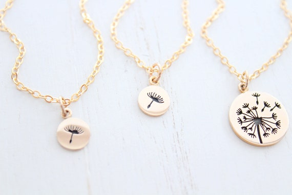 Dandelion necklace in Gold necklace for mother from daughter ,set of 3 necklaces. Gift for mom, Mother's day gift