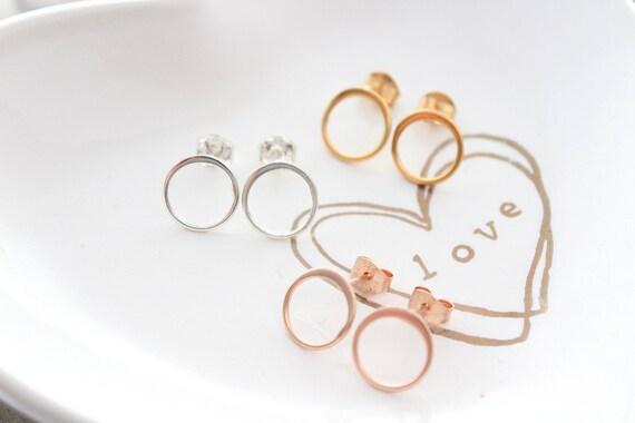 Round earrings Circle stud earrings Hoop earrings open circle stud earrings Gold open circle earrings minimalist earrings