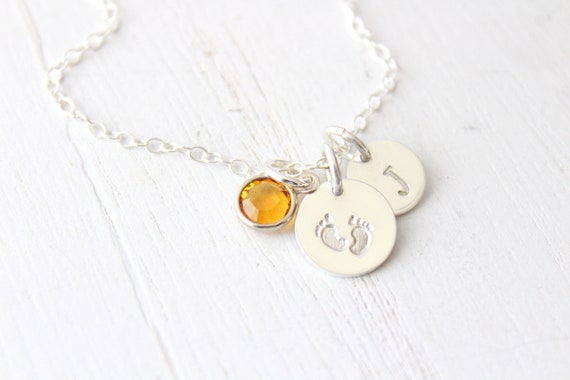 Footprint necklace for mom, Gift for new mom, Gift for expecting mother, Baby foot print gift, Baby footprints necklace with birthstone