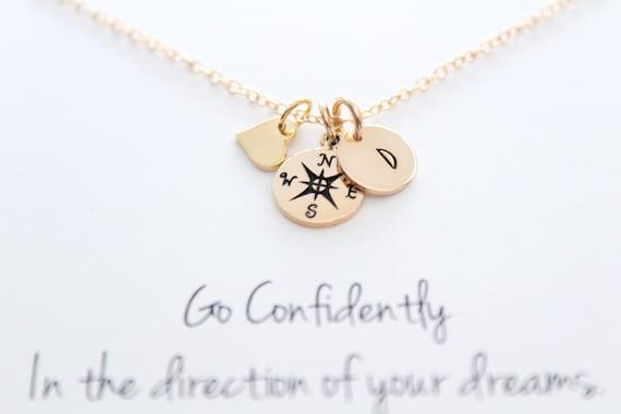 Compass necklace True North Graduation gift compass charm High School graduate College grad wanderlust travel Compass Heart charm