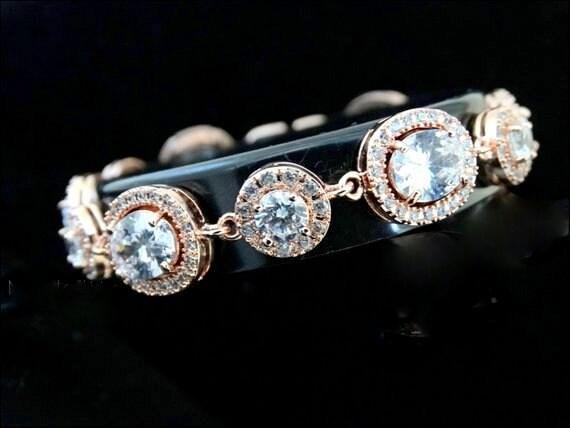 Rose Gold Bridal bracelet wedding bracelet cz bracelet cubic zirconia bracelet, bridal jewelry Pear Rose Gold Bracelet Bride Bracelet