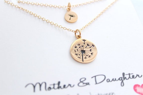 Dandelion Necklace, Mother daughter necklace, Mother of the bride gift, Mother daughter, Gift for mom Gift from Daughter, Gold necklace