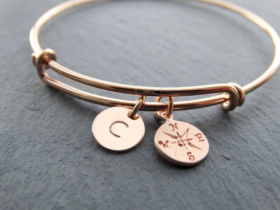 Bangle Bracelet with charms rose gold Compass Bracelet initial letter charm Expandable Bangle Bracelet Adjustable Personalized graduation