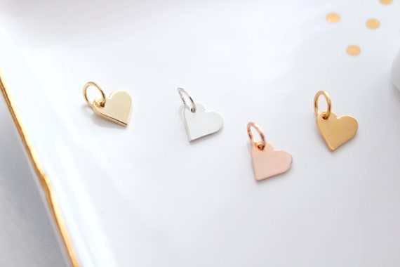 Sterling Silver Heart Charm, Add to Necklace, Bracelet, Add on Heart, Add a charm ,Tiny heart charm, Customize Your Necklace, Gold Rose gold