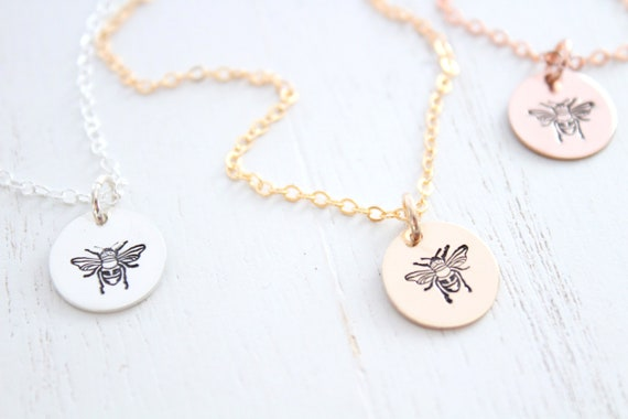 Bumble bee necklace silver, gold honey bee necklace, bee happy necklace, silver honey bee necklace, bee necklace silver, queen bee necklace