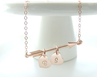 Rose Gold Arrow Necklace Initial Jewelry Initial necklace Initial Personalized Jewelry Heart Charm Valentine's day gift