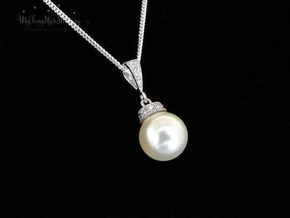 Bridal Necklace CREAM Pearl Necklace pendant Necklace Cream Pearls Swarovski Pearl Sterling silver Necklace Bridesmaid Gift Wedding Jewelry
