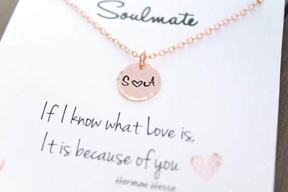 Initial necklace Couple Necklace Initial Heart Soulmate gift for girlfriend Personalized initial Necklace Heart Necklace Gift for her