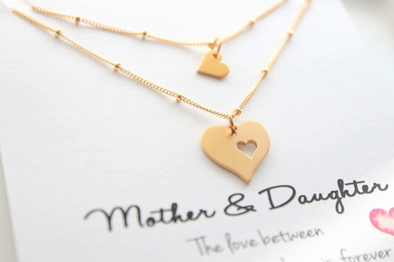Mother Daughter Necklace set  Mother of the bride gift Mommy and Me Mother Child Jewelry Mother's day gift Set of 2 neckaces