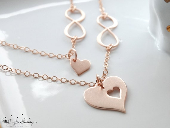 Mother daughter Necklace Rose Gold Infinity heart necklace Infinity Necklace Mothers Daughter Jewelry Necklace Mothers day from daughter