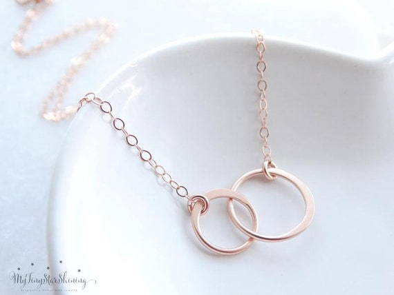 2 Sisters Necklace, Two Circle Necklace Rose Gold, Friendship Necklace, Best Friend Necklace