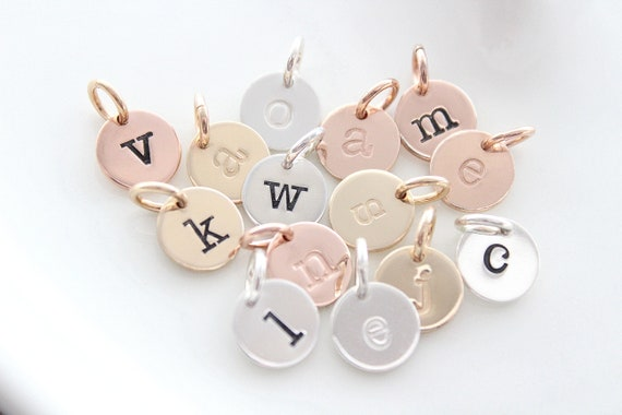 Personalized initial charm, hand stamped, custom necklace, sterling silver initial, letter charm, sterling silver charm TW