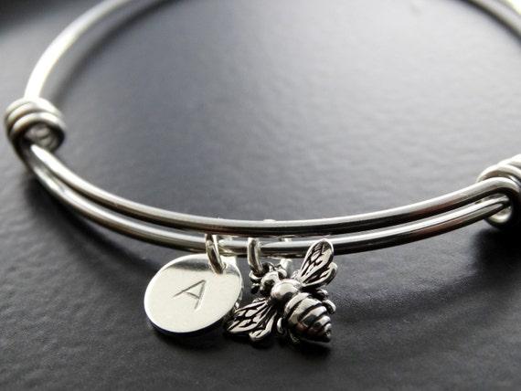 Bangle Bracelet Bumble bee bracelet silver Honey bee bracelet Silver Personalized Jewelry Initial bracelet Personalized Jewelry