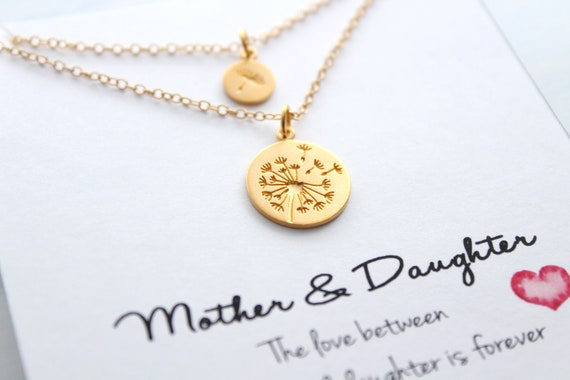 Dandelion Necklace mother daughter necklace Mother of the bride gift Mother daughter Gift for mom Gift from Daughter Gold necklace