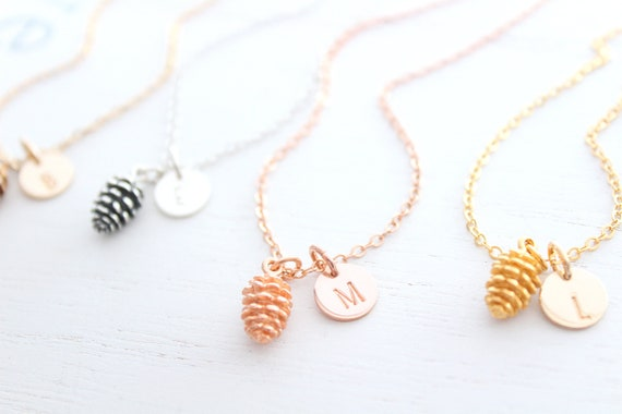 Rose Gold Pinecone Necklace, Best Friend Necklace Initial Necklace Leaf Necklace Gift Autumn Jewelry Fall Jewelry Christmas gift