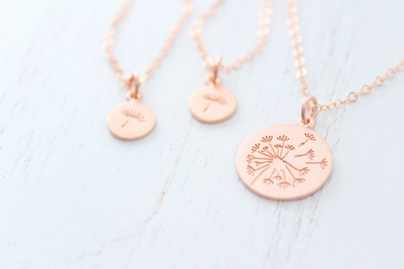 Dandelion necklace rose gold, Wish necklace, Mother daughter gift, Mom necklace from daughter, Dandelion jewelry, Mothers day gift