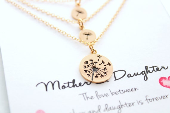 Dandelion necklace gold, Mother and daughters necklace, Set of 3 necklaces, Mother of the bride, Gift for mom, Gift from Daughter