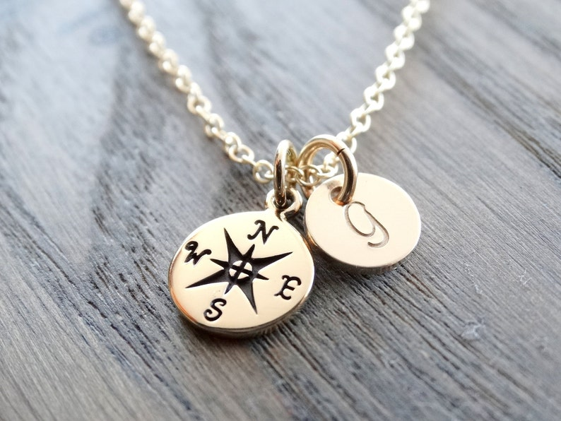 Gold Compass Necklace Graduation gift Personalized Compass image 0