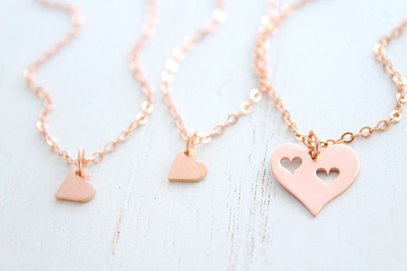 mother and daughter necklace set rose gold heart necklace, gift for mom from daughter, mother gift from daughter, mothers day from daughter