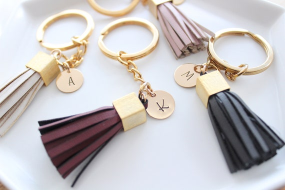 Gift Women Personalized Gift  Leather Bag charm Tassel Keychain Name keychain Christmas Gift For Her Personalized Keychain for women Gift