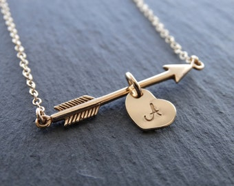 Gold Arrow Necklace Initial Jewelry Initial necklace Initial Personalized Jewelry gold arrow necklace Valentine's gift
