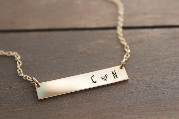 Gold bar necklace, layering necklace, personalized jewelry, gold necklace name, minimalist necklace, Christmas gift